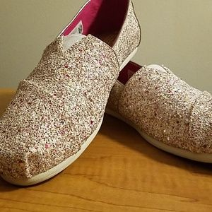 Size 10 Toms sparkling silver and pink shoes